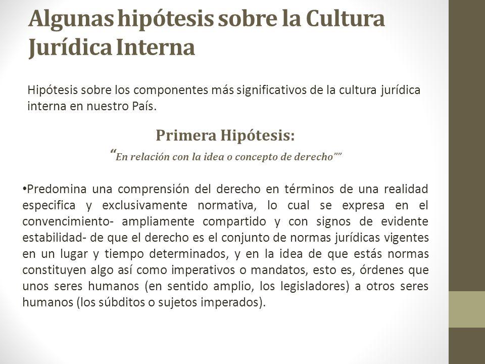 Algunas hipótesis sobre la Cultura Jurídica Interna