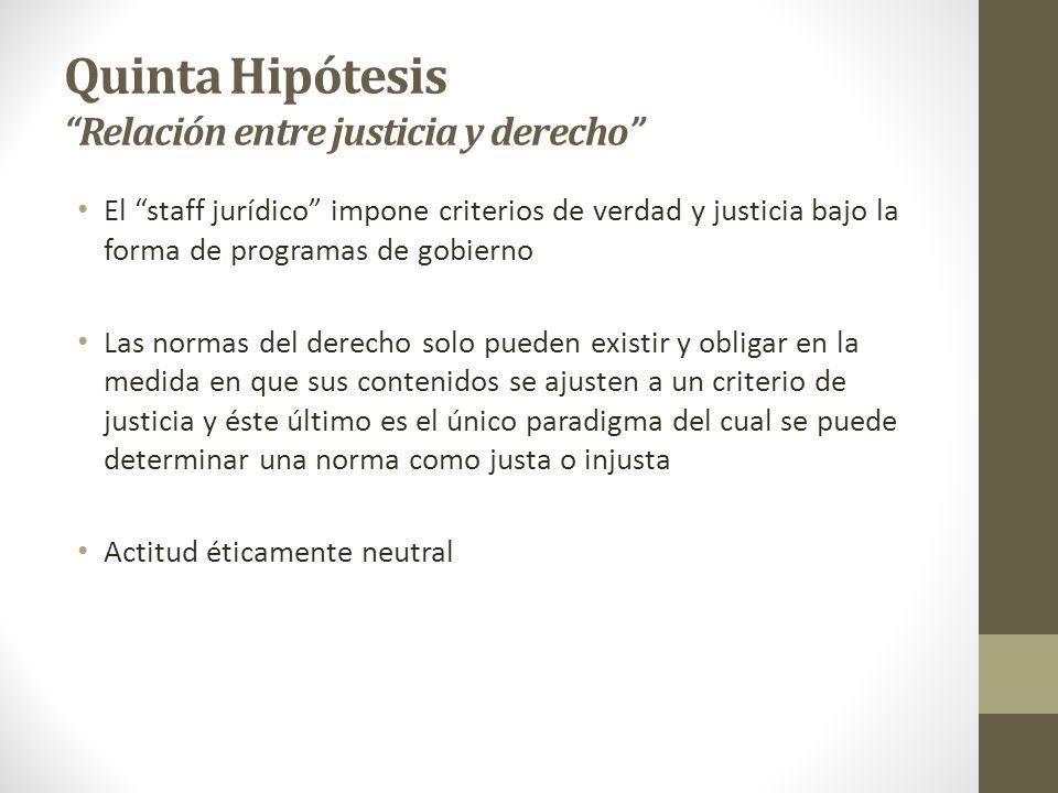 Quinta Hipótesis Relación entre justicia y derecho