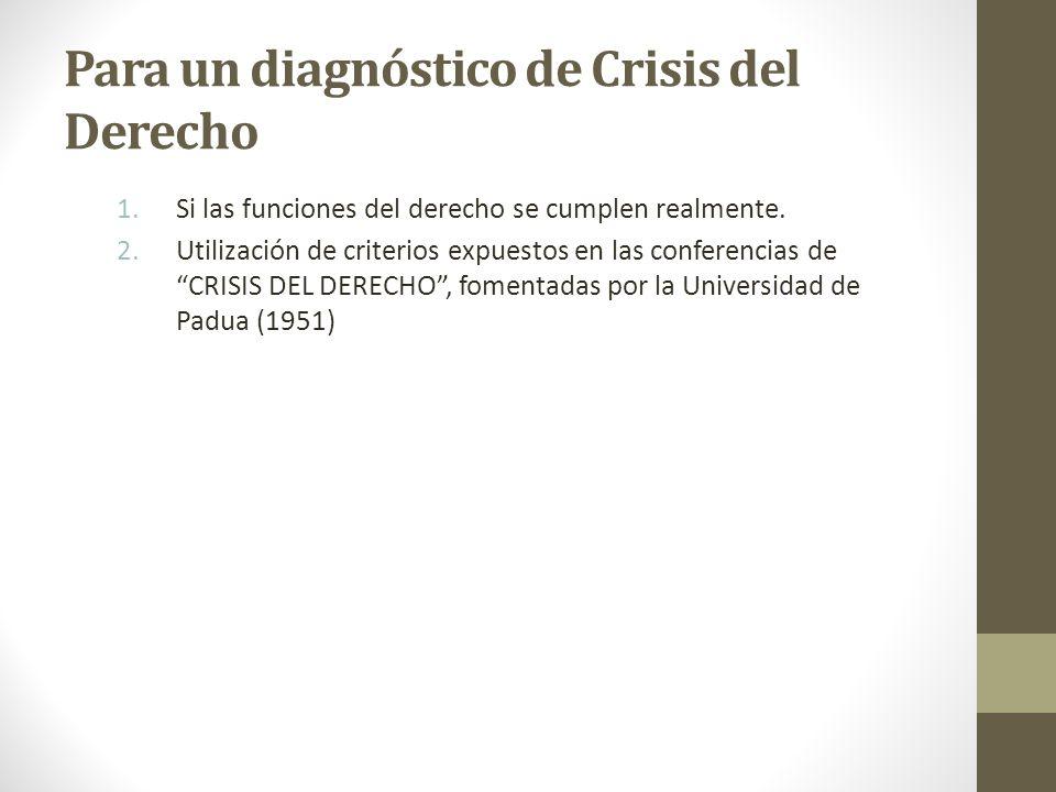 Para un diagnóstico de Crisis del Derecho