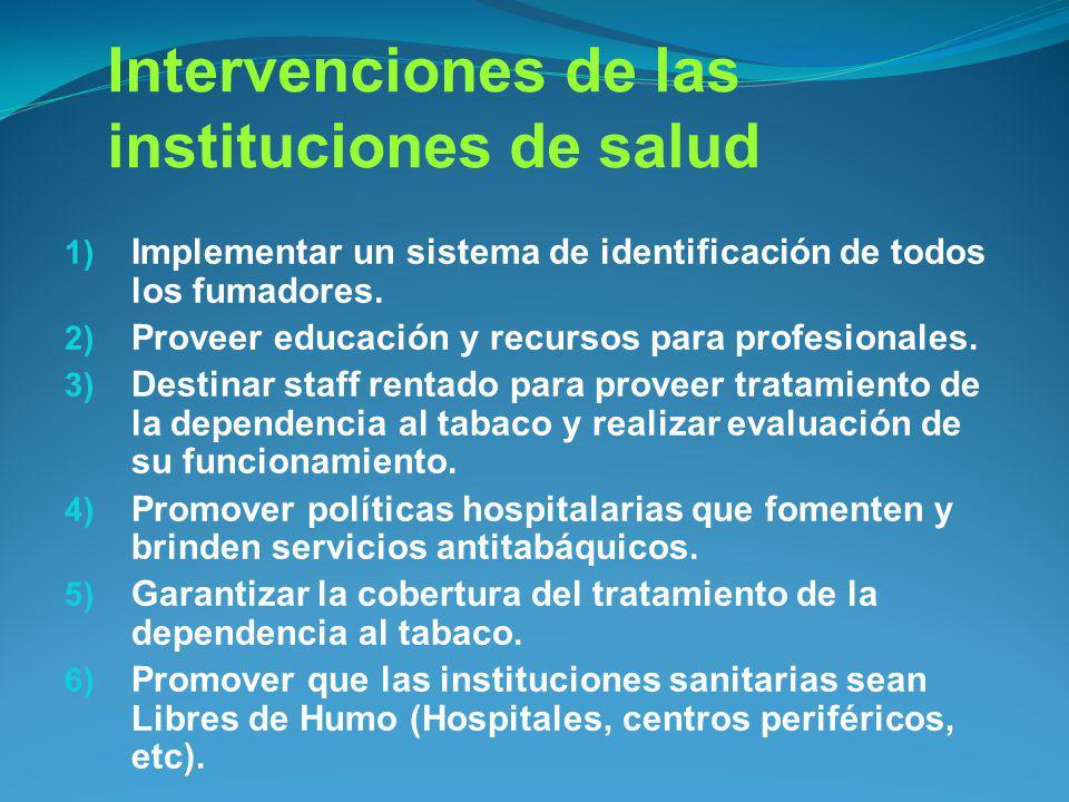 Intervenciones de las instituciones de salud