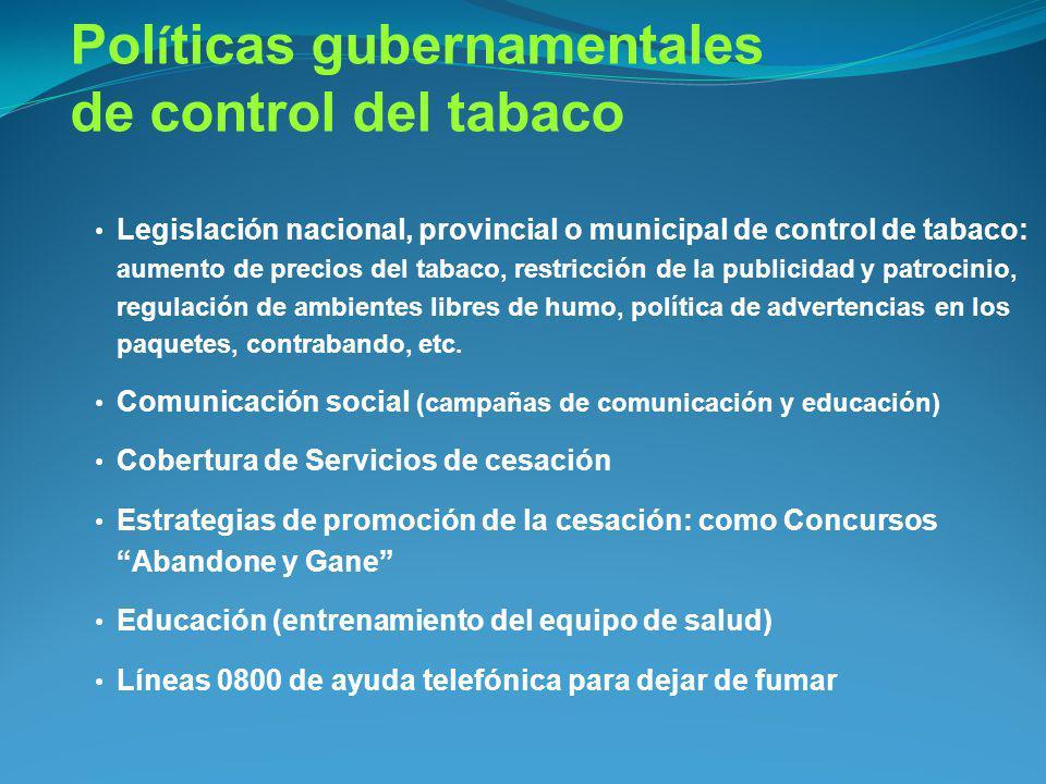 Políticas gubernamentales de control del tabaco