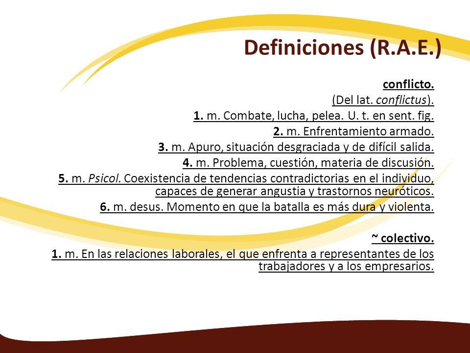 Definiciones (R.A.E.) conflicto. (Del lat. conflictus).