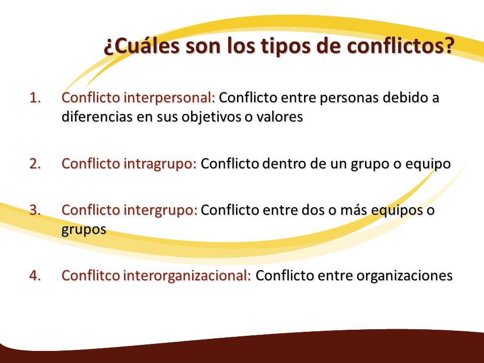 ¿Cuáles son los tipos de conflictos