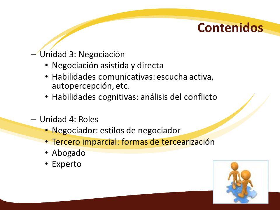 Contenidos Unidad 3: Negociación Negociación asistida y directa
