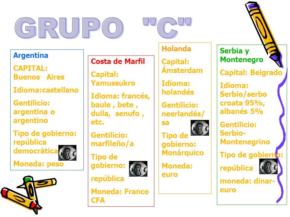 GRUPO C Holanda Capital: Ámsterdam Idioma: holandés