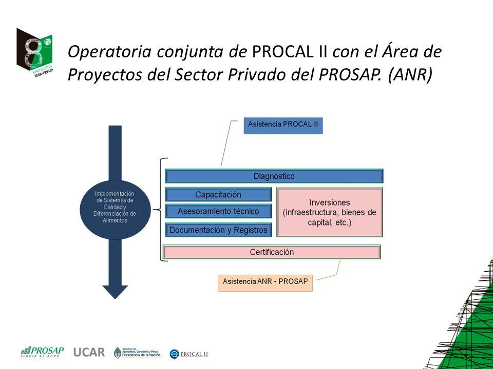 Operatoria conjunta de PROCAL II con el Área de Proyectos del Sector Privado del PROSAP. (ANR)