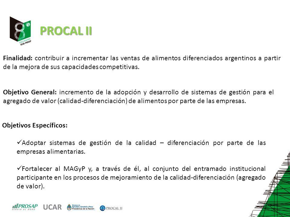 PROCAL II Finalidad: contribuir a incrementar las ventas de alimentos diferenciados argentinos a partir de la mejora de sus capacidades competitivas.