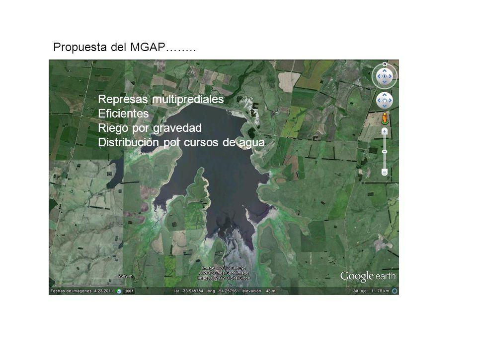 Propuesta del MGAP…….. Represas multiprediales. Eficientes.