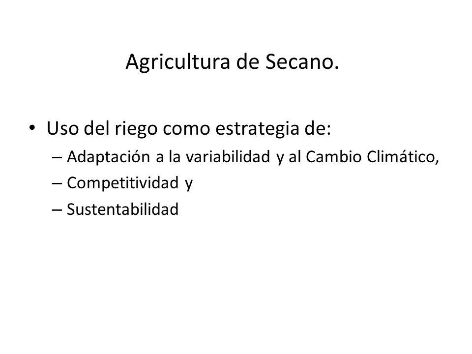 Agricultura de Secano. Uso del riego como estrategia de: