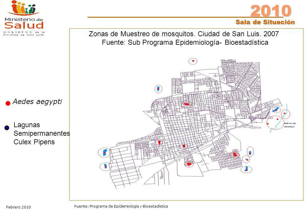Zonas de Muestreo de mosquitos. Ciudad de San Luis. 2007