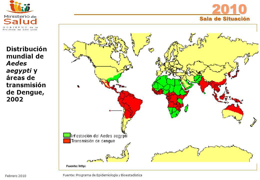 Distribución mundial de Aedes aegypti y áreas de transmisión de Dengue, 2002