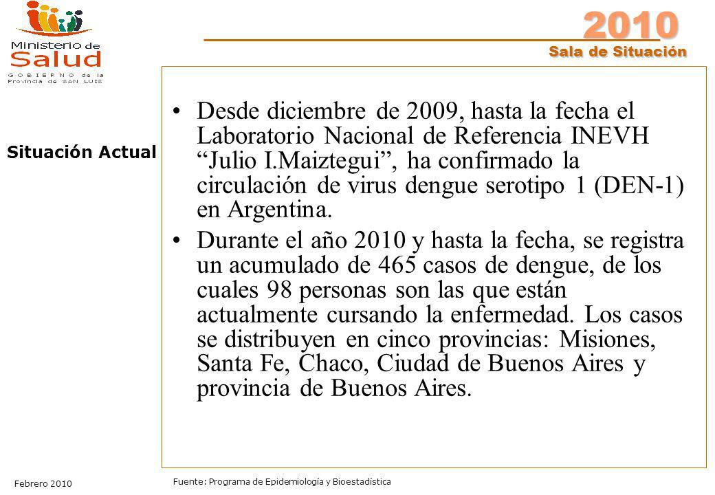 Desde diciembre de 2009, hasta la fecha el Laboratorio Nacional de Referencia INEVH Julio I.Maiztegui , ha confirmado la circulación de virus dengue serotipo 1 (DEN-1) en Argentina.