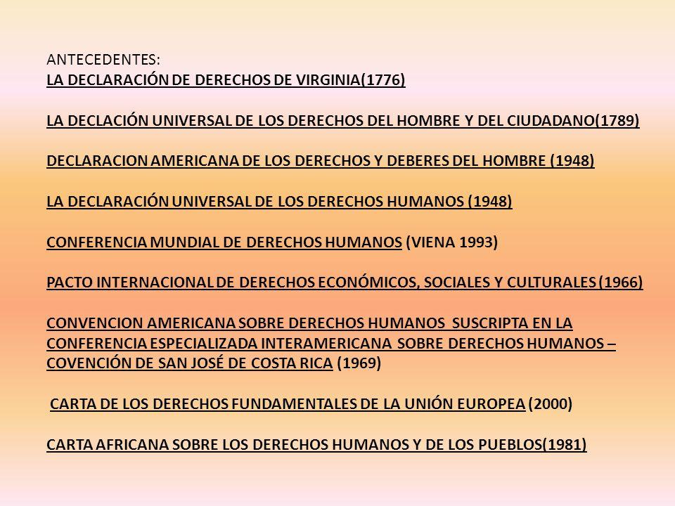 ANTECEDENTES: LA DECLARACIÓN DE DERECHOS DE VIRGINIA(1776) LA DECLACIÓN UNIVERSAL DE LOS DERECHOS DEL HOMBRE Y DEL CIUDADANO(1789)