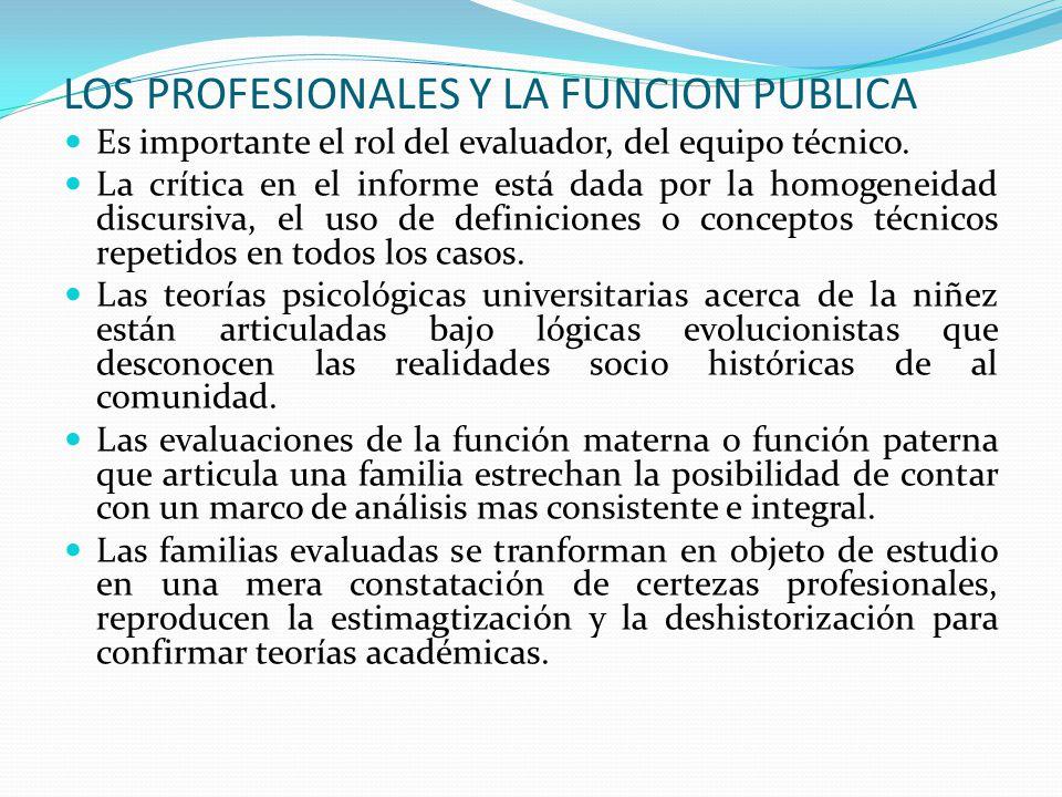 LOS PROFESIONALES Y LA FUNCION PUBLICA