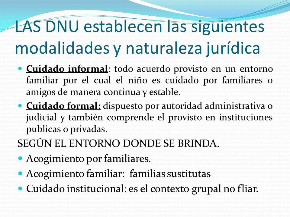LAS DNU establecen las siguientes modalidades y naturaleza jurídica