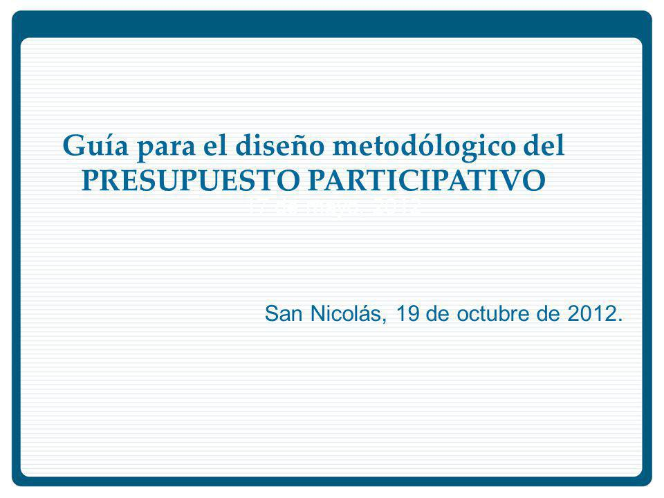 Guía para el diseño metodólogico del PRESUPUESTO PARTICIPATIVO