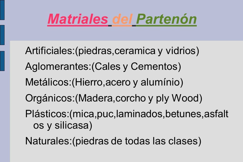Matriales del Partenón
