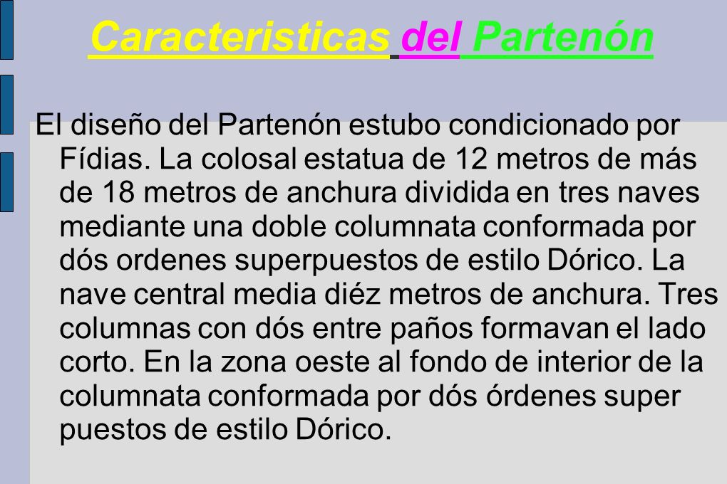Caracteristicas del Partenón