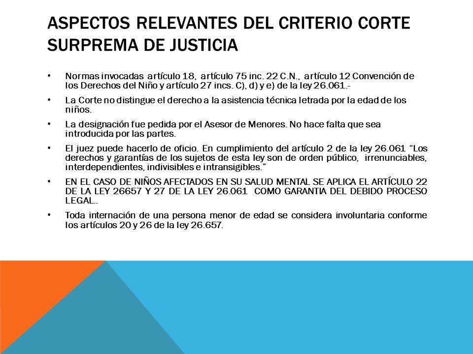 ASPECTOS RELEVANTES DEL CRITERIO CORTE SURPREMA DE JUSTICIA