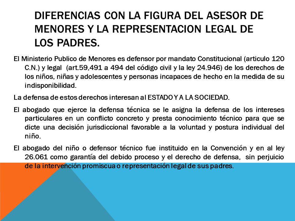 DIFERENCIAS CON LA FIGURA DEL ASESOR DE MENORES Y LA REPRESENTACION LEGAL DE LOS PADRES.