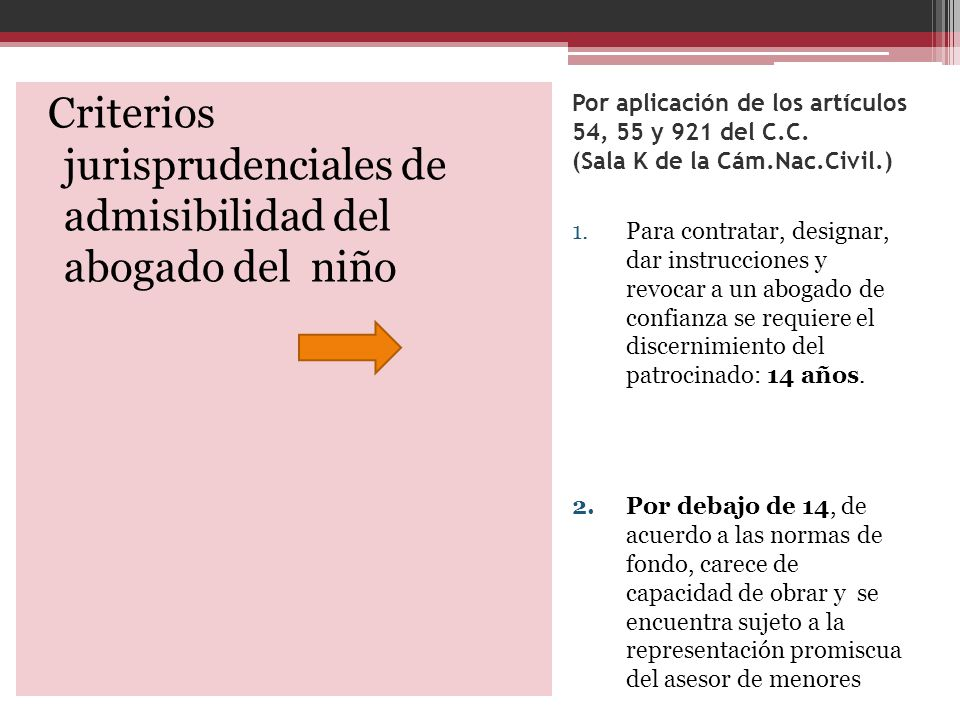 Criterios jurisprudenciales de admisibilidad del abogado del niño