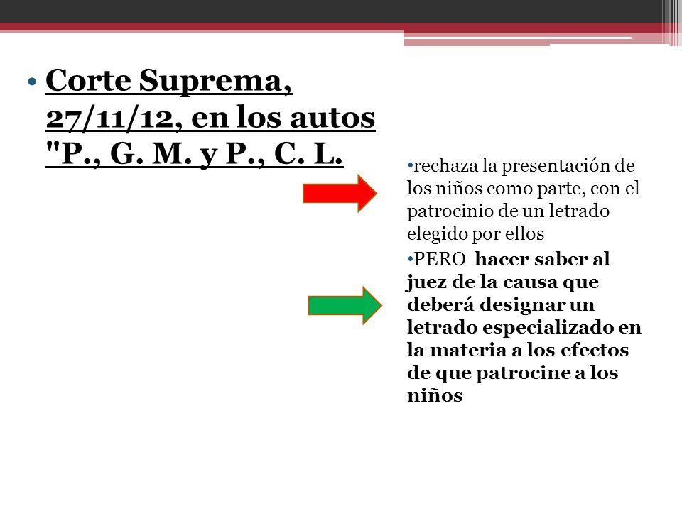 Corte Suprema, 27/11/12, en los autos P., G. M. y P., C. L.