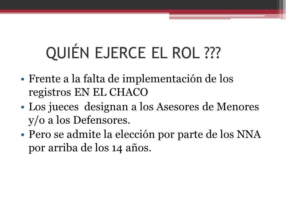 QUIÉN EJERCE EL ROL Frente a la falta de implementación de los registros EN EL CHACO.
