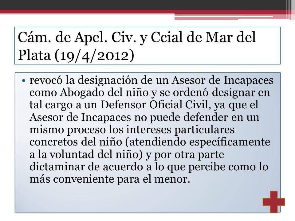 Cám. de Apel. Civ. y Ccial de Mar del Plata (19/4/2012)