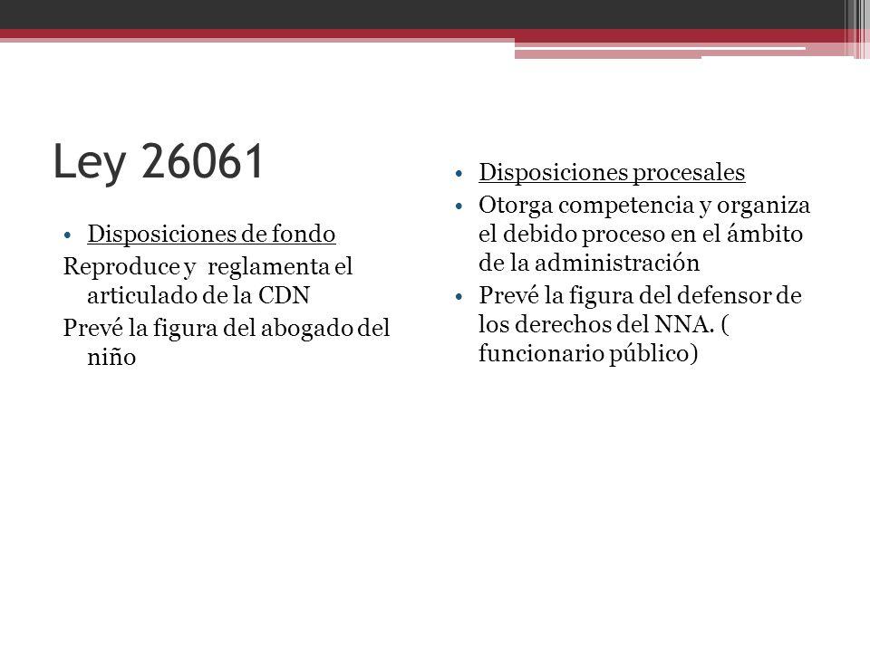 Ley 26061 Disposiciones procesales