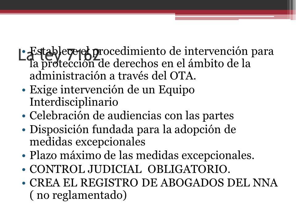 La ley 7162 Establece el procedimiento de intervención para la protección de derechos en el ámbito de la administración a través del OTA.