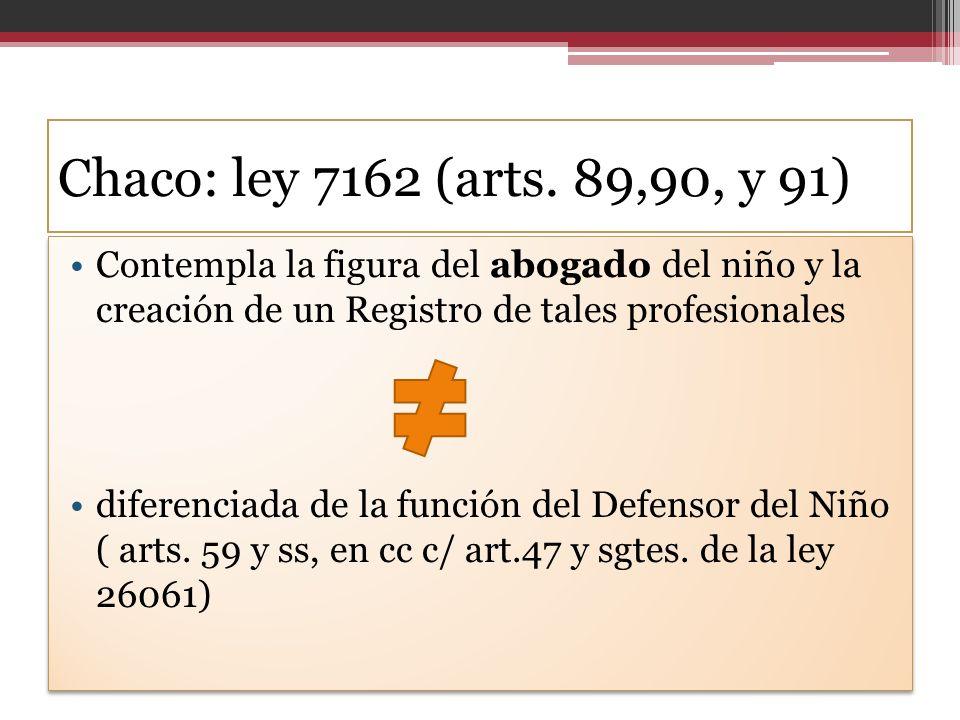 Chaco: ley 7162 (arts. 89,90, y 91) Contempla la figura del abogado del niño y la creación de un Registro de tales profesionales.
