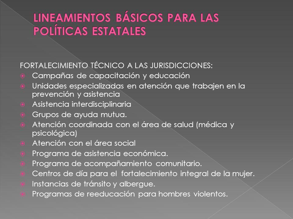 LINEAMIENTOS BÁSICOS PARA LAS POLÍTICAS ESTATALES