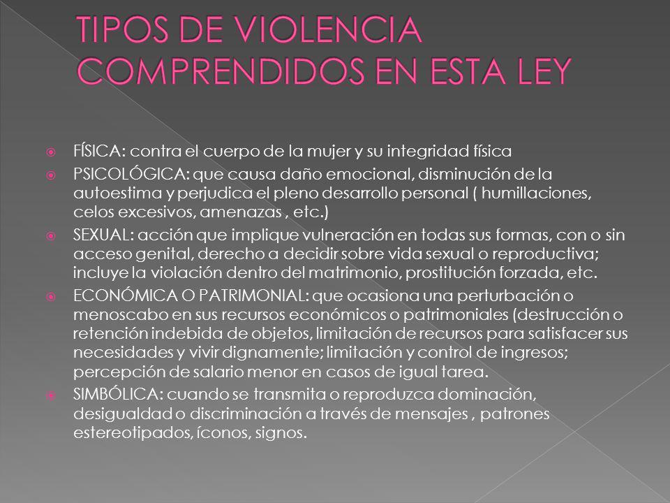 TIPOS DE VIOLENCIA COMPRENDIDOS EN ESTA LEY