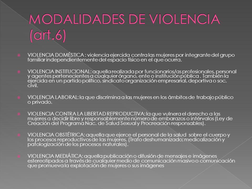 MODALIDADES DE VIOLENCIA (art.6)