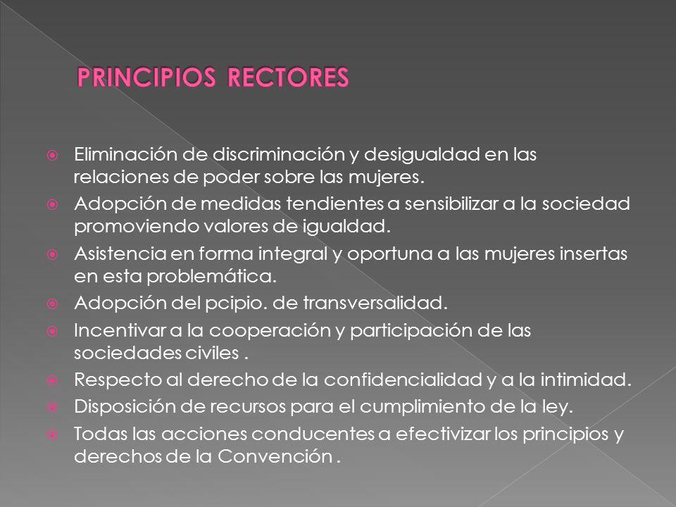 PRINCIPIOS RECTORES Eliminación de discriminación y desigualdad en las relaciones de poder sobre las mujeres.