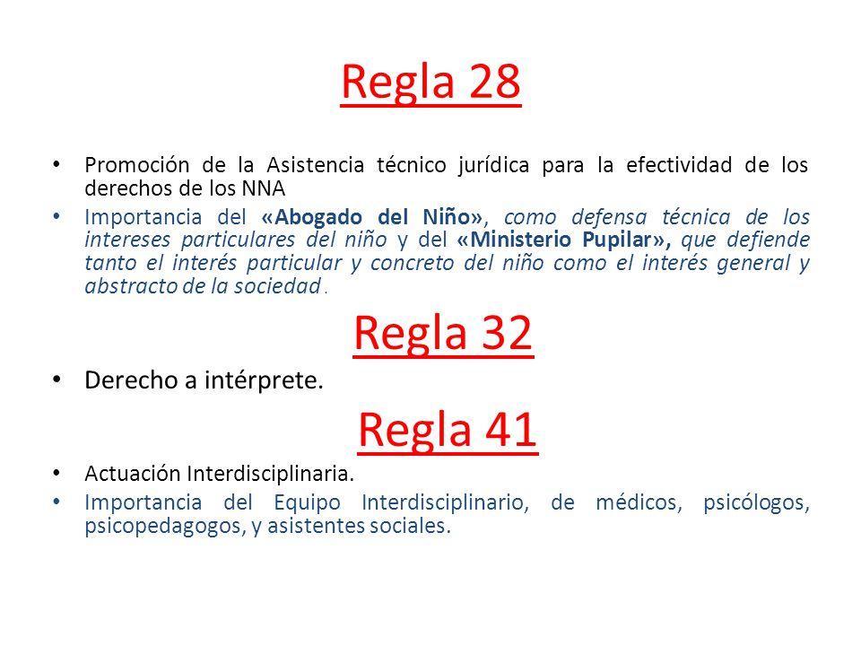 Regla 28 Regla 41 Derecho a intérprete.