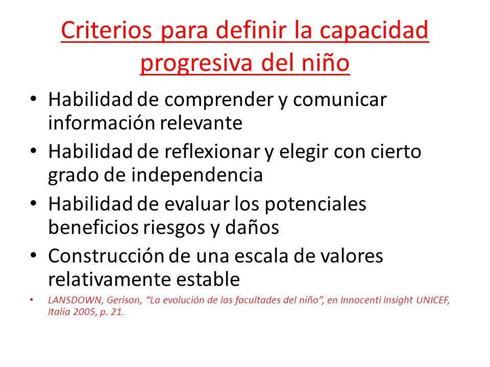Criterios para definir la capacidad progresiva del niño