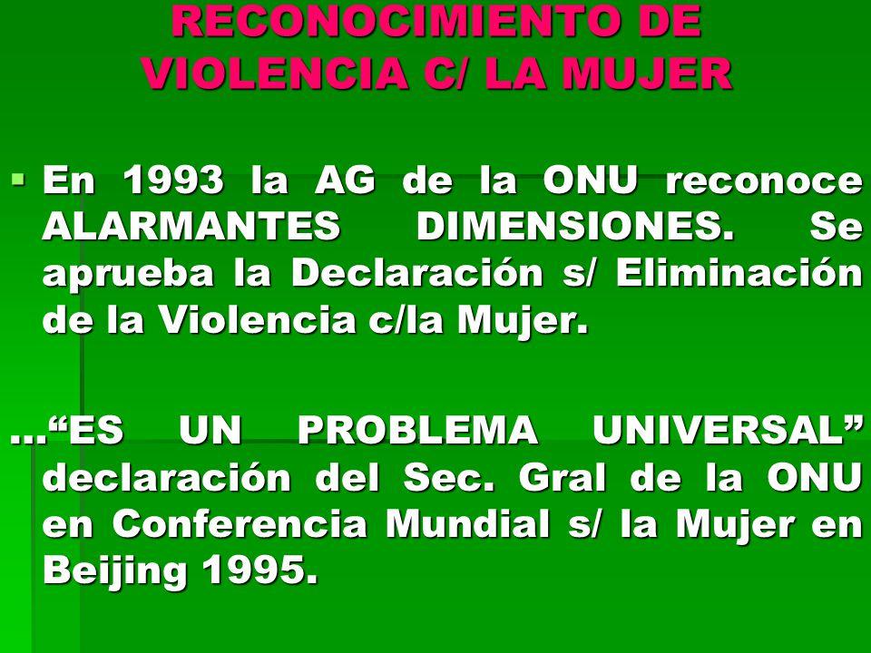 RECONOCIMIENTO DE VIOLENCIA C/ LA MUJER