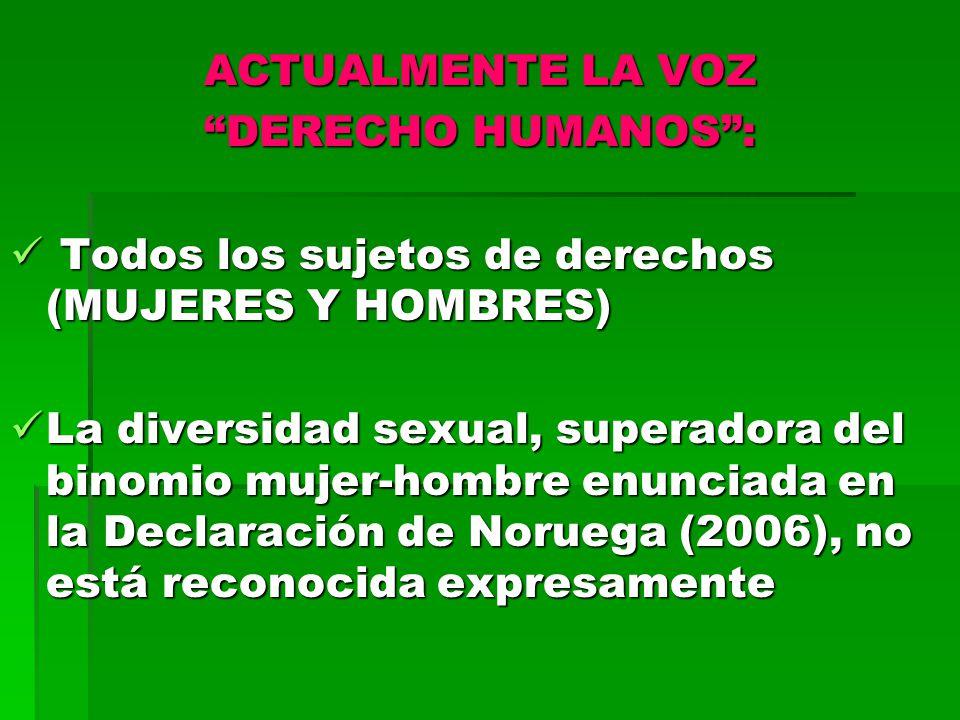 ACTUALMENTE LA VOZ DERECHO HUMANOS : Todos los sujetos de derechos (MUJERES Y HOMBRES)