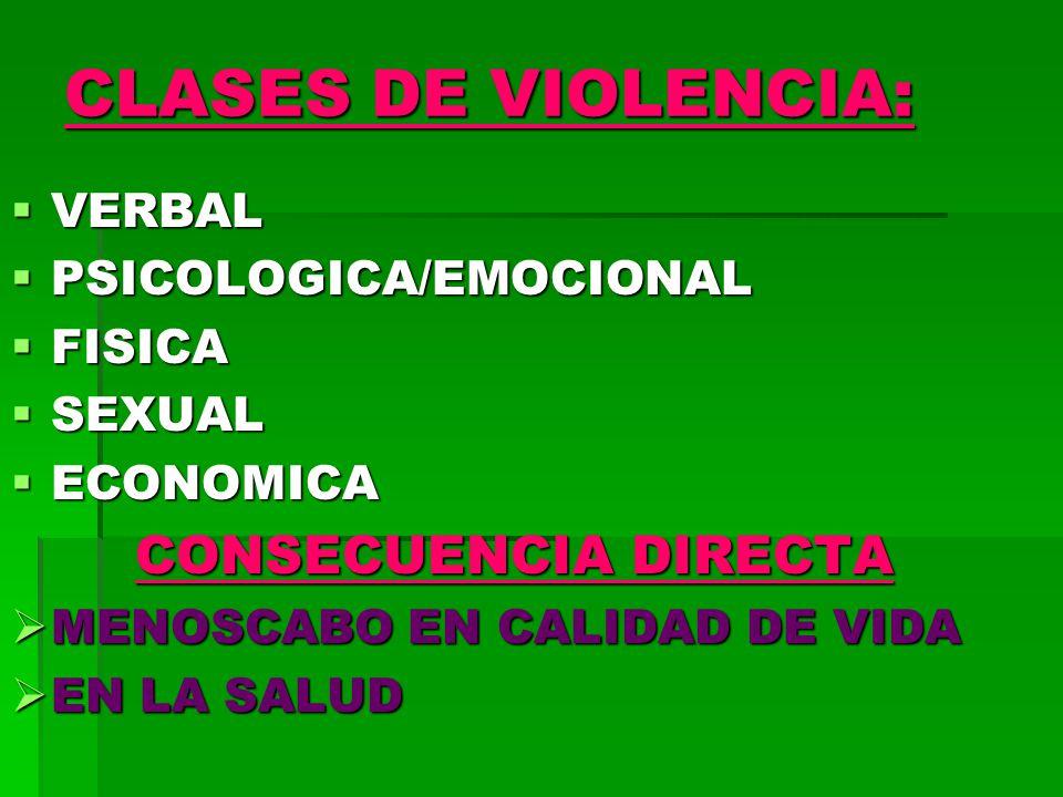 CLASES DE VIOLENCIA: CONSECUENCIA DIRECTA VERBAL PSICOLOGICA/EMOCIONAL