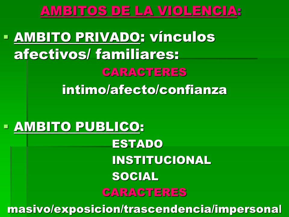 AMBITOS DE LA VIOLENCIA: