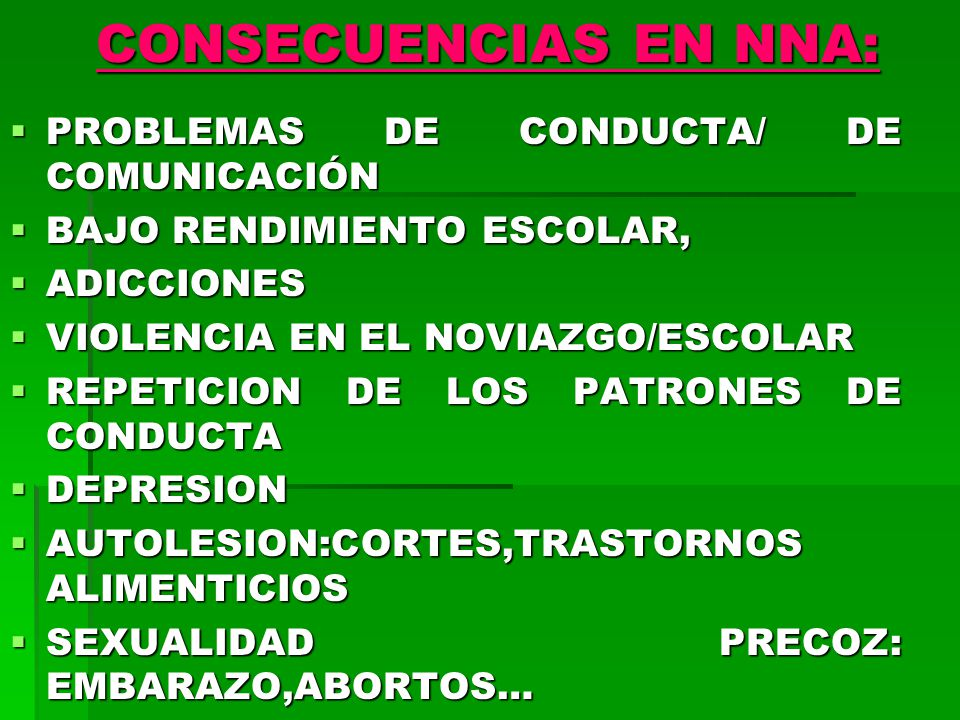 CONSECUENCIAS EN NNA: PROBLEMAS DE CONDUCTA/ DE COMUNICACIÓN