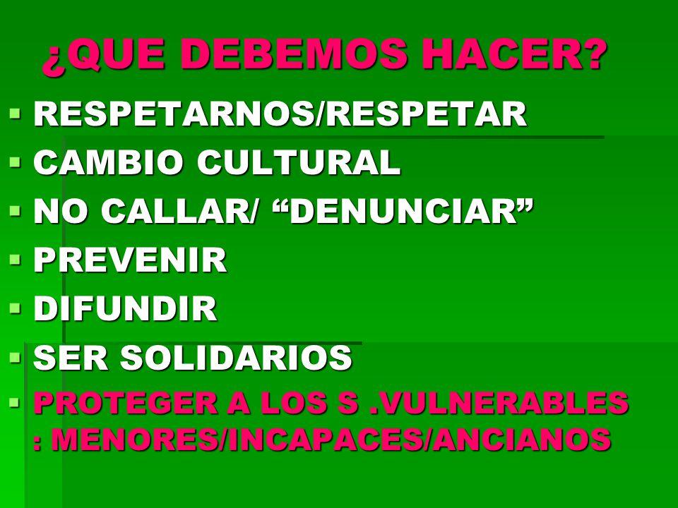 ¿QUE DEBEMOS HACER RESPETARNOS/RESPETAR CAMBIO CULTURAL