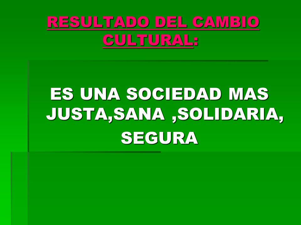 RESULTADO DEL CAMBIO CULTURAL: