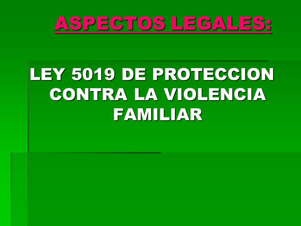 LEY 5019 DE PROTECCION CONTRA LA VIOLENCIA FAMILIAR