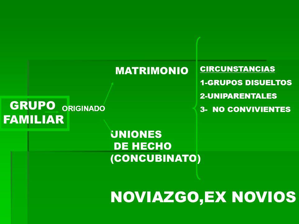 NOVIAZGO,EX NOVIOS GRUPO FAMILIAR MATRIMONIO UNIONES DE HECHO
