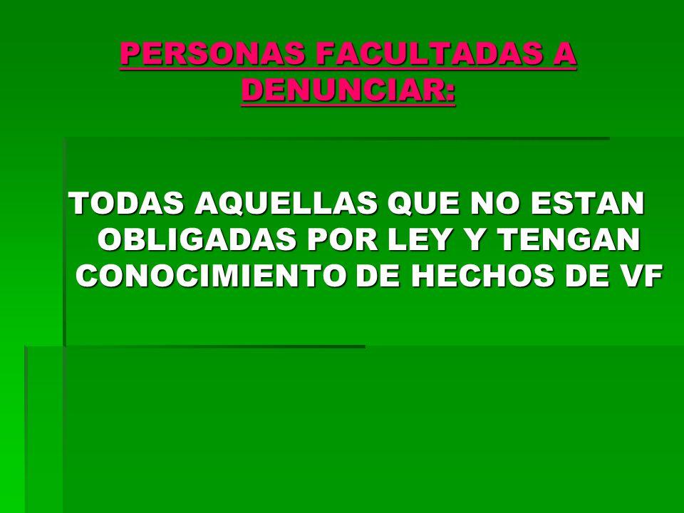 PERSONAS FACULTADAS A DENUNCIAR: