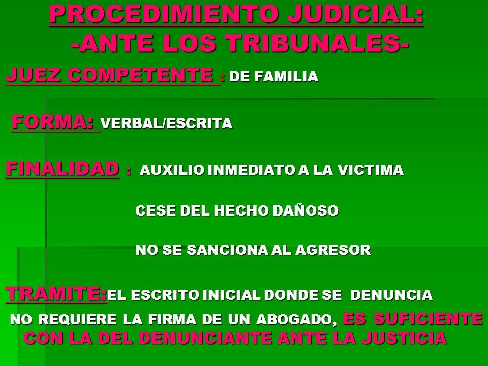 PROCEDIMIENTO JUDICIAL: -ANTE LOS TRIBUNALES-