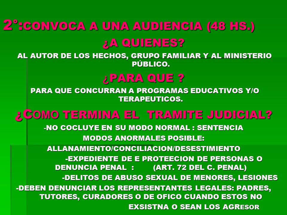 2°:CONVOCA A UNA AUDIENCIA (48 HS.)