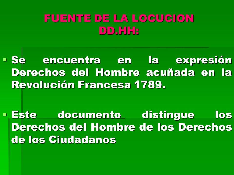 FUENTE DE LA LOCUCION DD.HH: